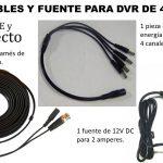 Kit completo de cables y fuentes para 4 cámaras