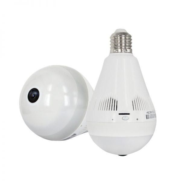 Cámara IP fisheye Espía tipo foco LED WiFi HD 960P